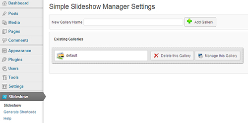 Simple Slideshow Manager Settings