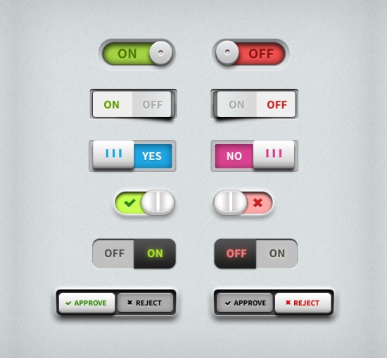 Toggle Switches UI PSD