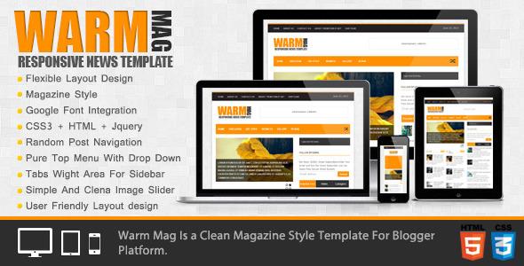 WarmMag - Premium Responsive Blogger Template