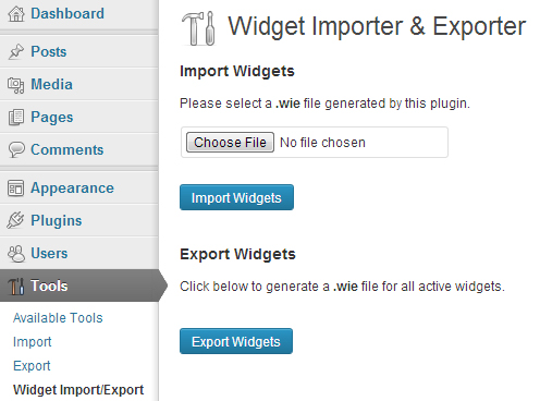 Widget Importer & Exporter WordPress