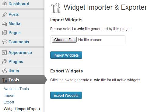 Widget Importer & Exporter WordPress