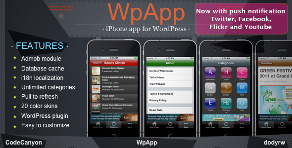 WpApp iPhone app for WordPress