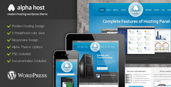 Alpha - Modern Hosting WordPress Theme