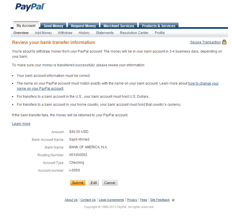 Confirm PayPal Bank Transfer Information