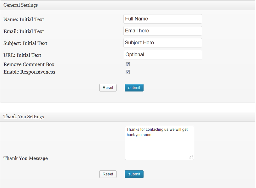 ContactPress Plugin settings page