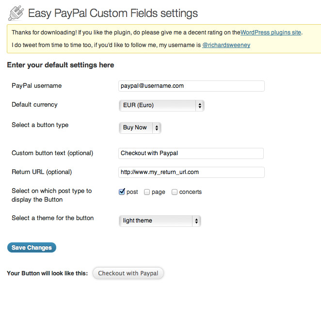 Easy PayPal Custom Fields
