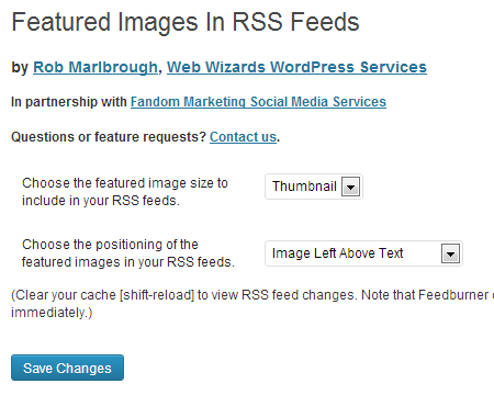 Featured Images in RSS screenshot