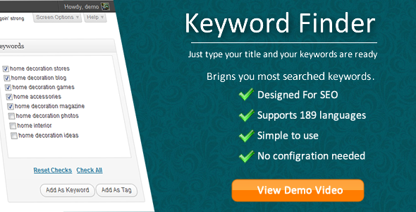 Keyword Finder for WordPress3