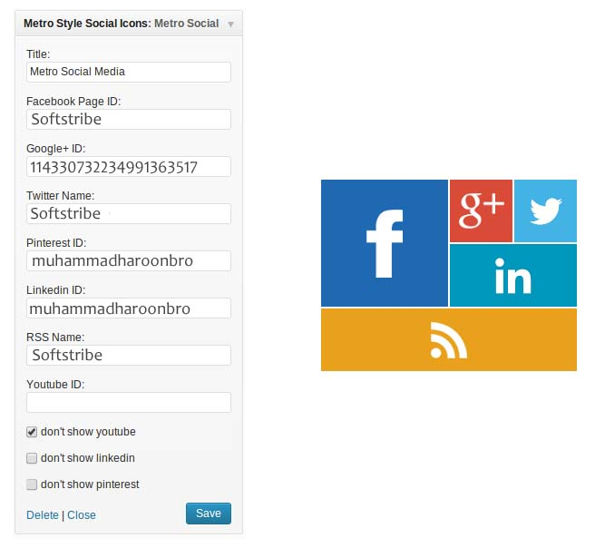 Metro Style Social Widget WordPress settings