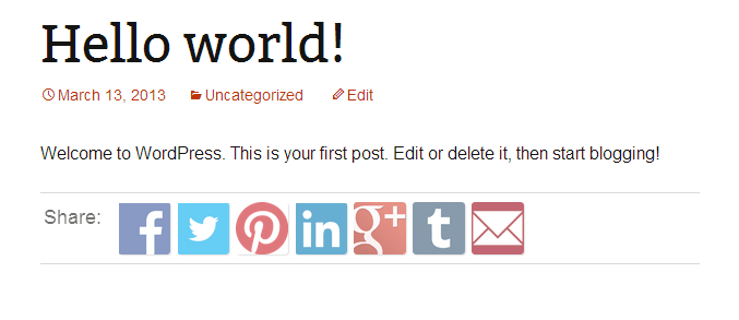 QuickShare Flexible social Icons in WordPress