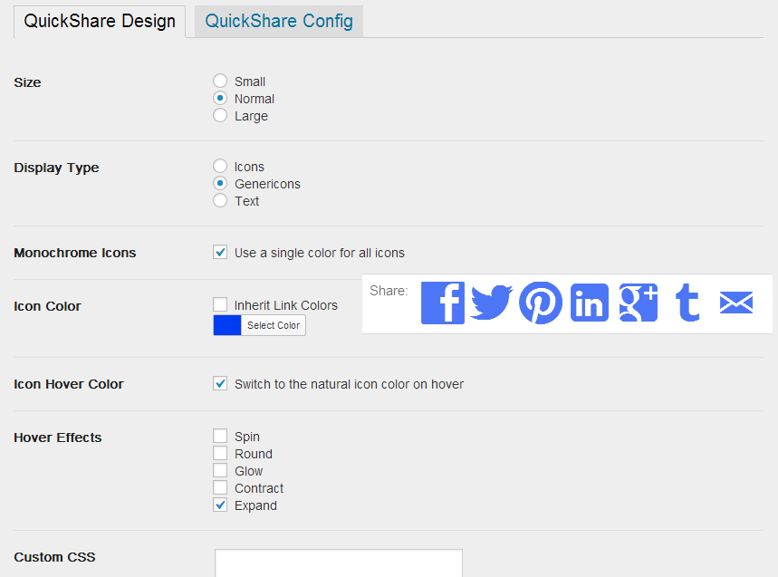 QuickShare WordPress plugin settings