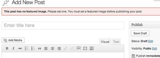 Require Featured Image WordPress