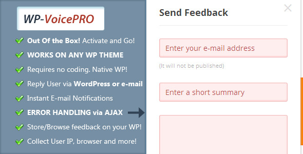VoicePro, Instant Ajax Feedback Form for WordPress