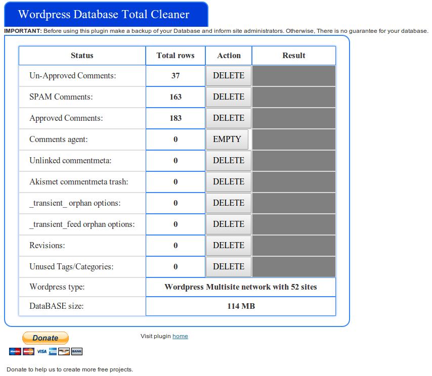 WPDBTotalCleaner plugin Settings page
