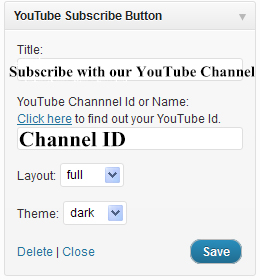 Youtube Subscribe Button Widget Settings
