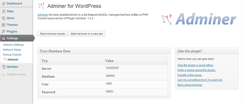 Adminer WordPress Plugin Settings Page