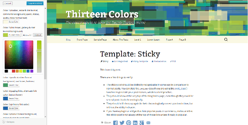 Color customization interface in WordPress theme customizer