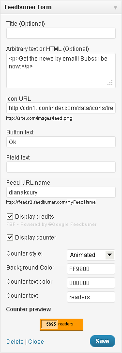 Feedburner Form WordPress Plugin Widget Options