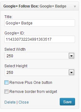 Google plus Badge for WordPress Widget Settings. jpg