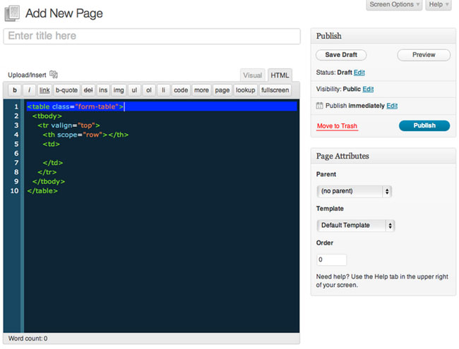 WP Editor Screenshot in page Editor HTML WordPress
