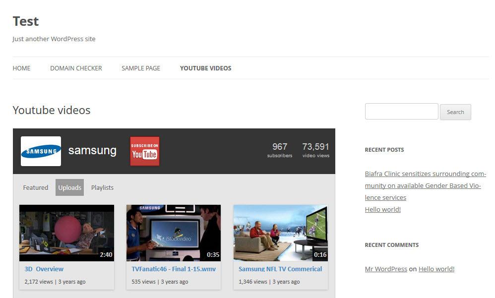 Wordpress Youtube Channel Plugin