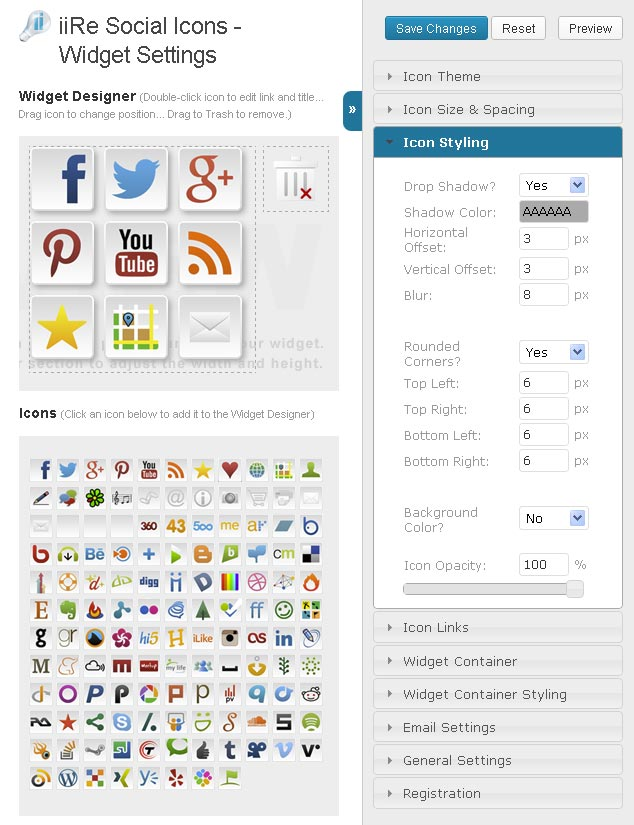 iiRe Social Icons WordPress