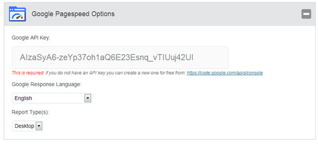 Google Pagespeed Insights for WordPress Settings Page API