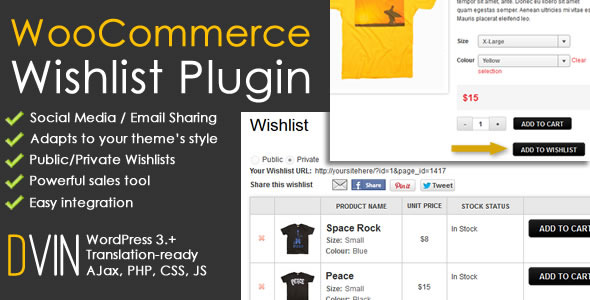 DVin WooCommerce Wishlist WP Plugin