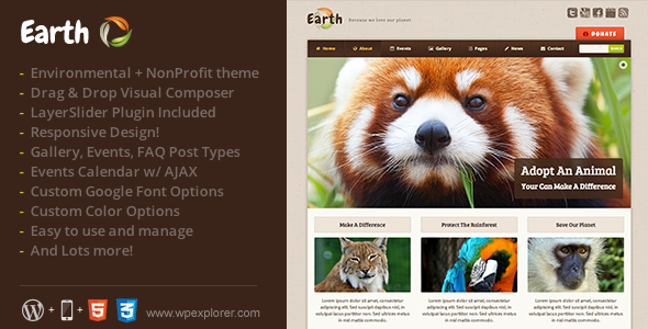 Earth - Eco Environmental NonProfit WordPress Theme