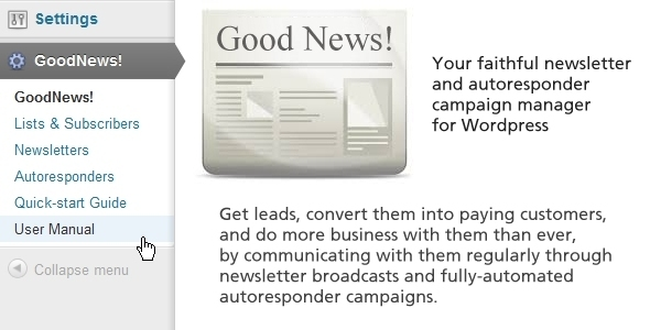goodnews newsletter and auto responder manager