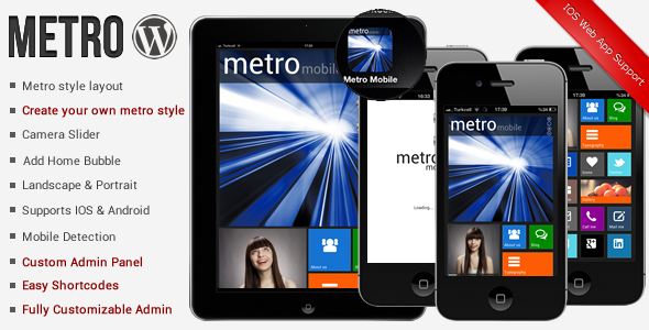 Metro Mobile Premium WordPress Mobile Template