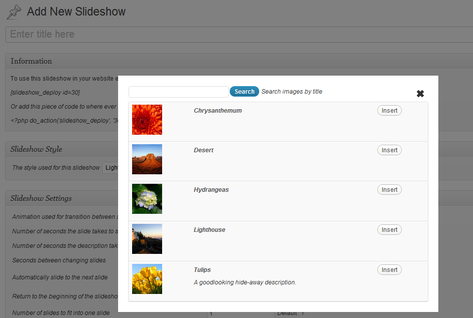 Slideshows WordPress Plugin Screenshot