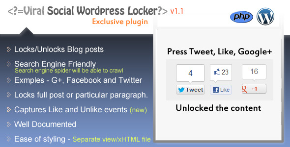 Viral WordPress Locker G+,Tweet, or Like to unlock