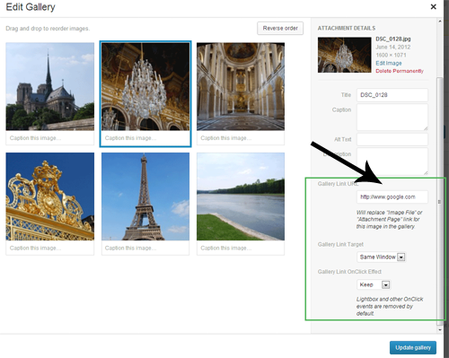 add Custom links on WordPress gallery images
