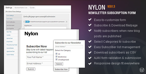 nyLON Subscription form - WP Plugin