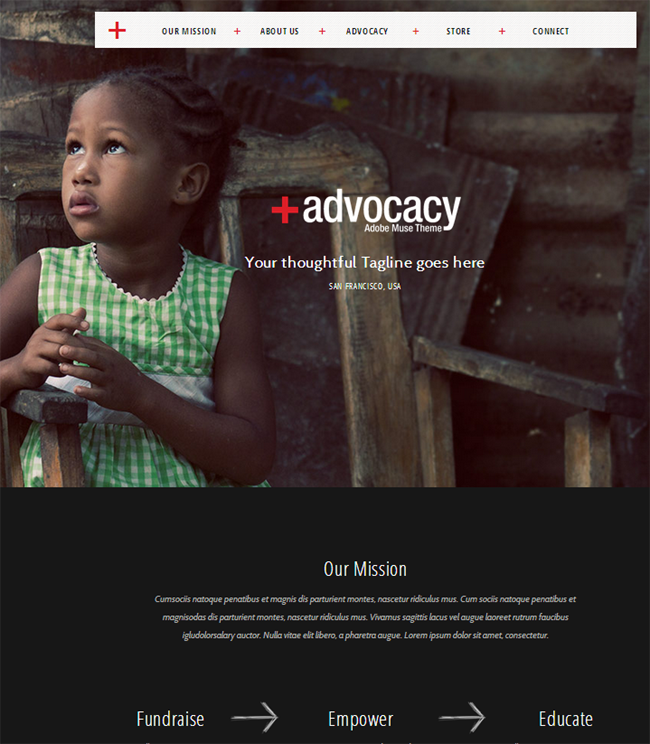 Advocacy : Adobe Muse NonProfit Theme