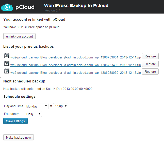 Backup to pCloud Screenshot 01
