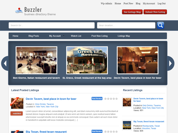 Buzzler Business Directory Theme