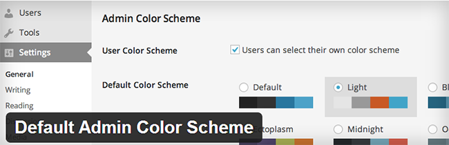 Default Admin Color Scheme
