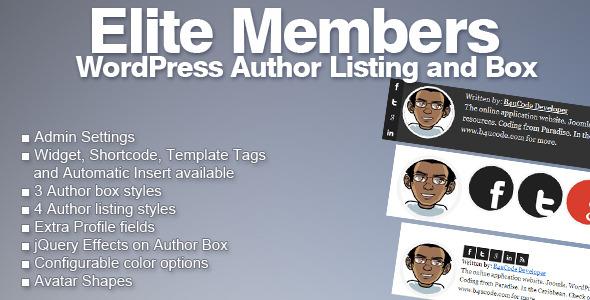 Elite Members - WordPress Author Listing and Box