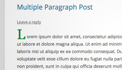 Enlarge First Character of First Paragraph in WordPress
