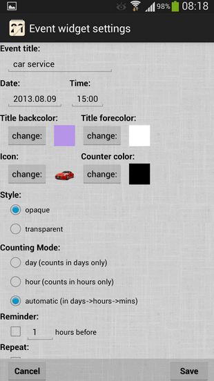 Event Countdown Widget Android
