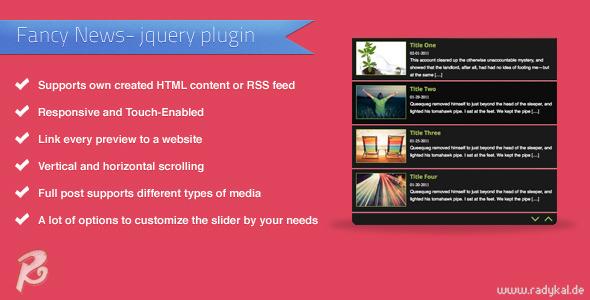 Fancy News - jQuery plugin