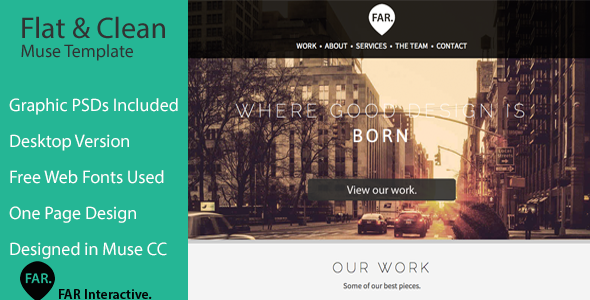 Flat & Clean One Page Parallax Muse Theme