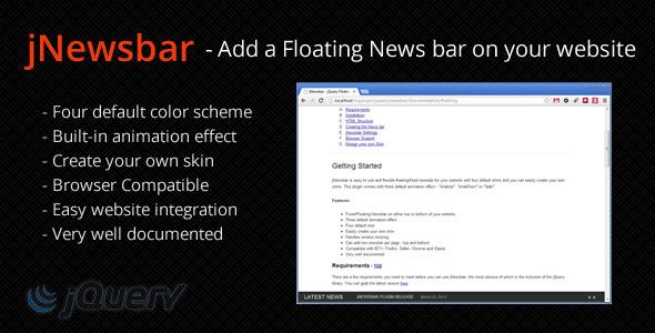 JNewsbar - jQuery Floating News bar