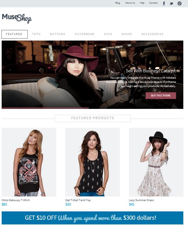 Muse Shop - eCommerce Storefront Muse Theme