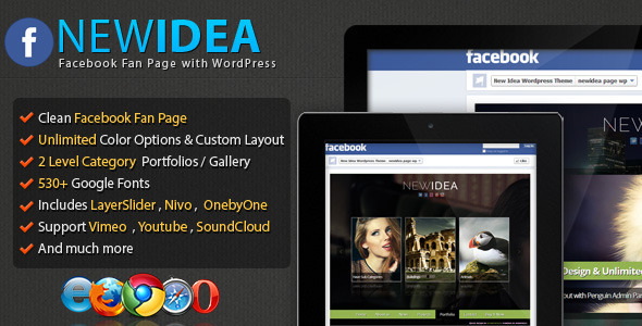 New Idea Facebook Fan Page with WordPress Theme