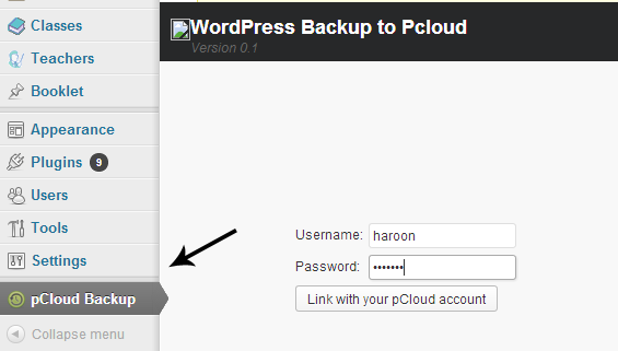 PCloud WordPress Backup Username and password
