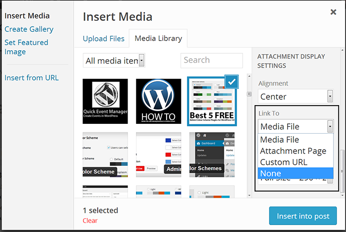 Remove the media file link from Images in WordPress