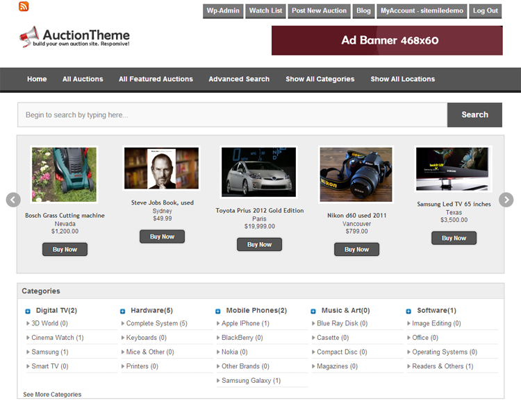 Responsive Auction WordPress Theme